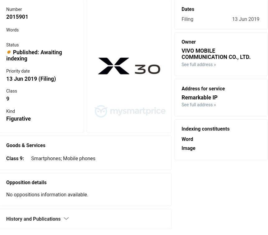 vivo X30已申请注册商标,或抢发6400万摄像头